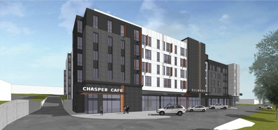 Initial proposal from Collegiate Development group, with parking in front of the building.