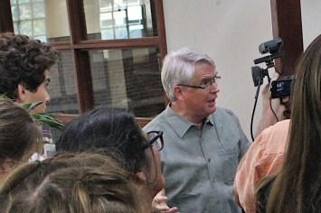 Bloomington's mayor, John Hamilton, talked with climate strikers on Sept. 20, 2019.