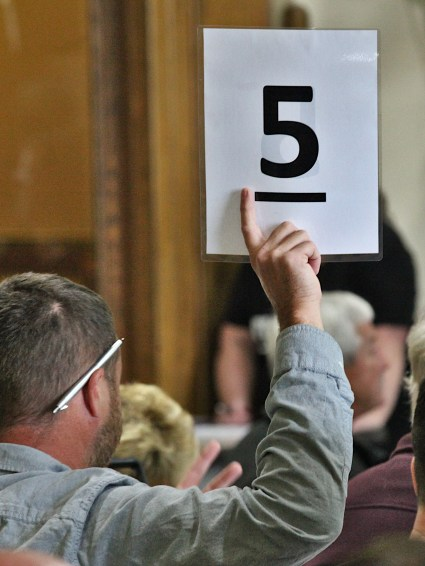Bidder Number 5 at Monroe County's tax sale on Oct. 10, 2019. (Dave Askins/Beacon)