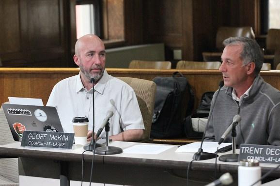 Monroe County councilor Geoff McKim (left) and deputy mayor Mick Renneisen on Dec. 12, 2019.