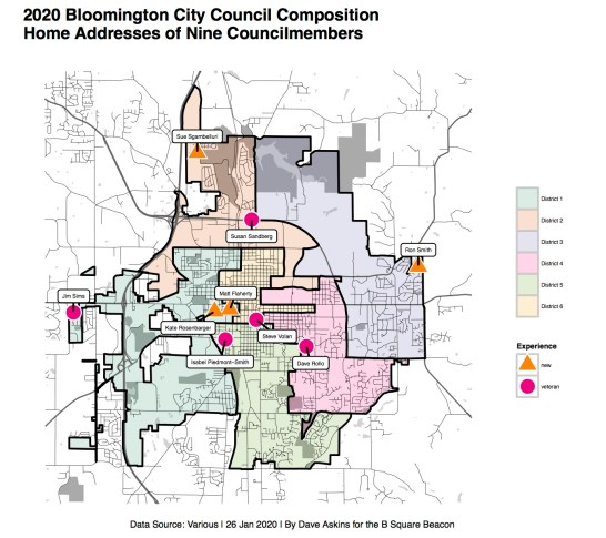 Plot of current councilmember home addresses on district map of Bloomington.
