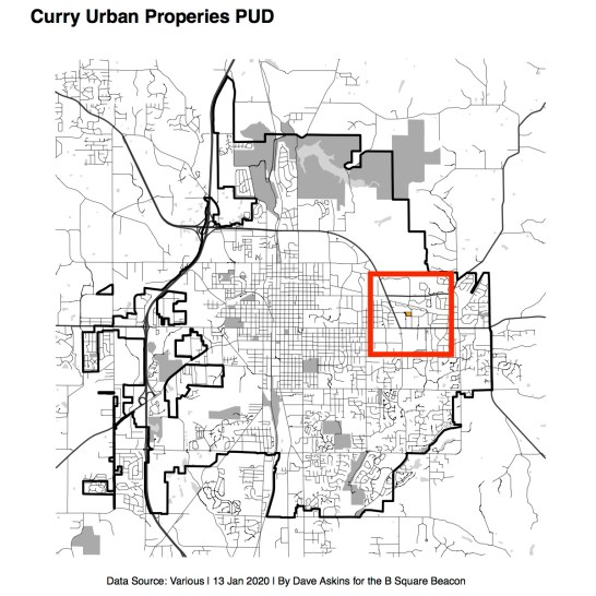 City of Bloomington with inset for area of Curry Urban Properties PUD proposal.