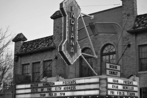 The Buskirk-Chumley Theater marquee as it appeared on Feb. 20, 2020.