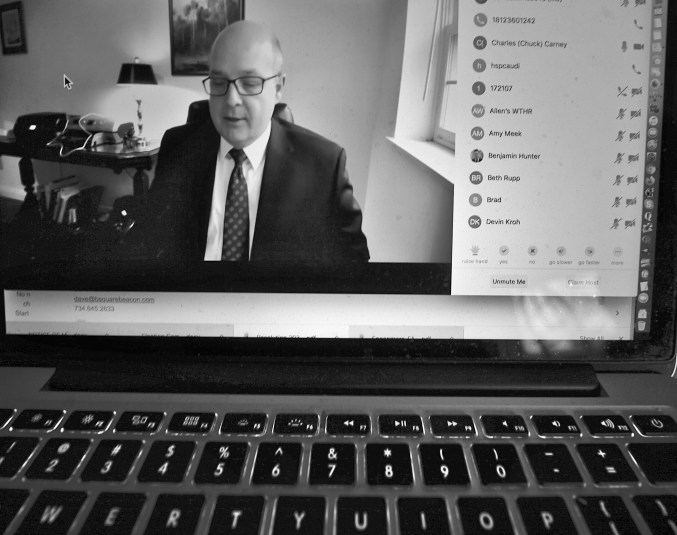 Indiana University's director of media relations, Chuck Carney, hosted Friday's Zoom conference call with the media.