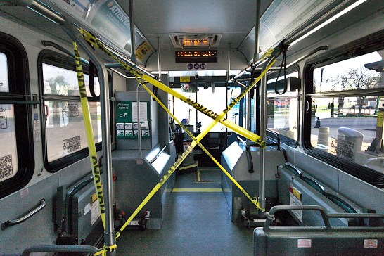 Caution tape separates drivers from passengers in Bloomington Transit buses (Dave Askins/Square Beacon)