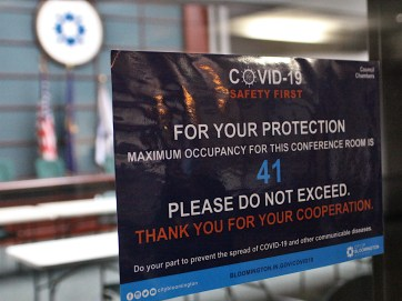 Sign on city council chambers.