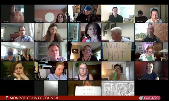 Screen grab of the Monroe County council's Zoom meeting on June 4, 2020