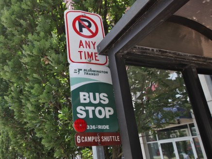 Bloomington Transit bus stop on College Avenue in downtown Bloomington.