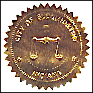 Current city of Bloomington seal as applied to a document.