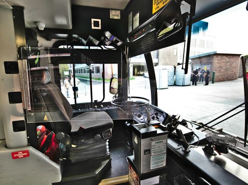 A plexiglass partition on a hinge has been installed at the front of Bloomington Transit buses to help prevent the spread of COVID-19 between passengers and drivers.