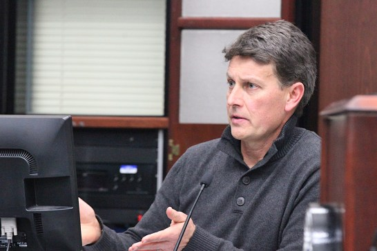 On Monday night, Scott Robinson was confirmed by the city plan commission as director of Bloomington's planning and transportation department. This Square Beacon file photo shows Robinson at a Bloomington city council meeting in late 2019.