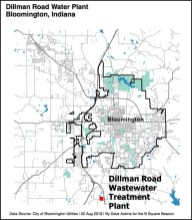 Location map of the Dillman Road waste water treatment plant.