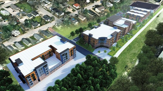 Renderings showing a view of the proposed project looking northwest.