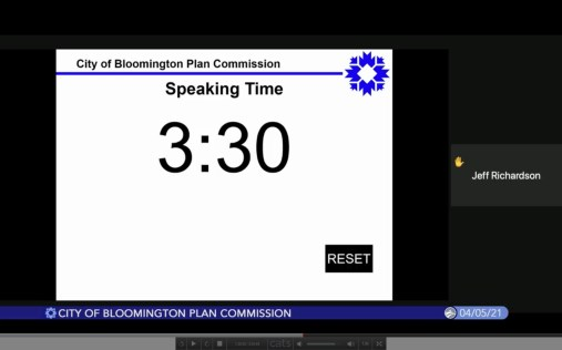 Screen shot of plan commission Zoom meeting from April 5, 2021 as the time counts down for public speaker Jeff Richardson.