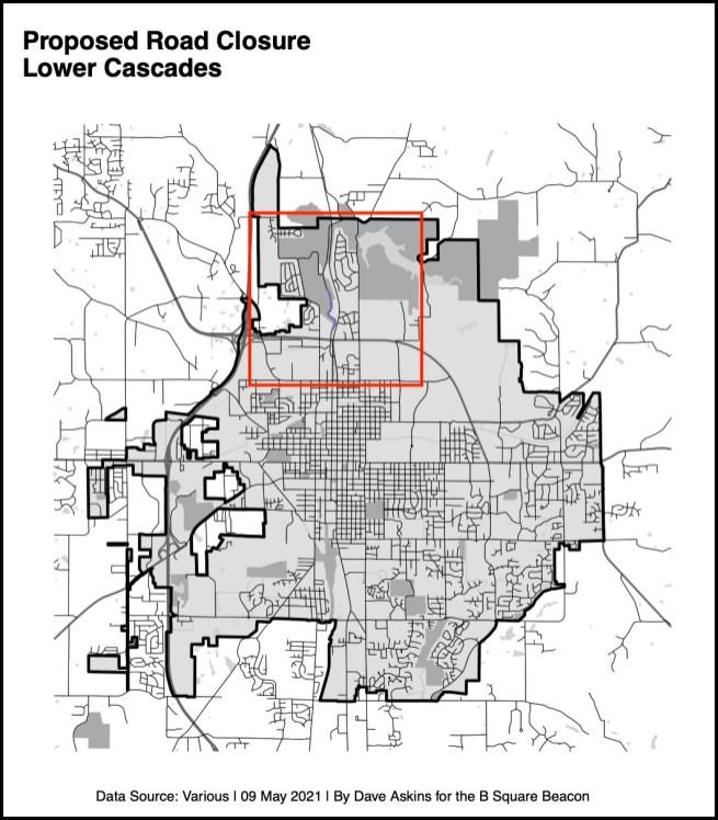Locator map for proposed road closure.