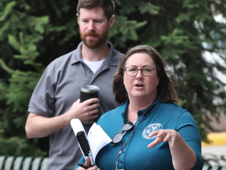 Monroe County's emergency management director Allison Moore. Standing behind Moore is Jesse Minnick, south region liaison for Indiana Department of Homeland Security.