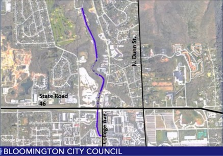 Section of trail proposed to city council in Oct. 31, 2018 bond proposal. It goes south all the way to College Avenue.