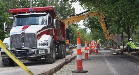 Construction of 7-Line on the east end of the project next to IU campus on June 7, 2021. (Dave Askins/Square Beacon)