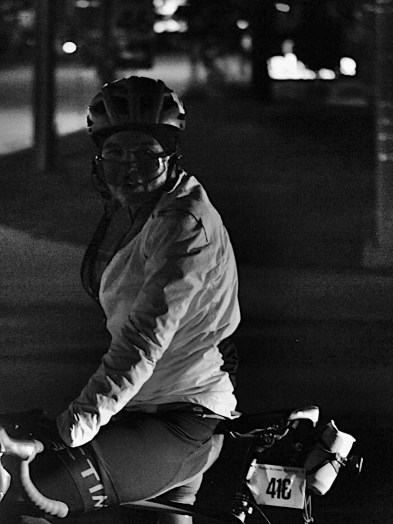 RAAM female solo competitor Leah Goldstein at the intersection of SR 45/46 and 3rd Street waiting at the light to turn left onto 3rd. (11:55 p.m. June 23, 2021)