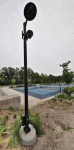 A security camera installed near the pickleball courts in Switchyard Park.