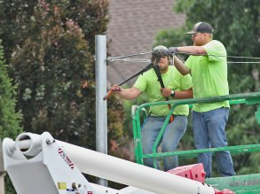 The light poles and light strands were installed on July 13, 2021 by Cassady Electrical Contractors.
