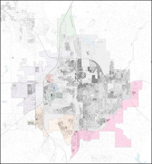 Annexation over-layed with 2010 population density. Population density map is Copyright, 2013, Weldon Cooper Center for Public Service, Rector and Visitors of the University of Virginia (Dustin A. Cable, creator)