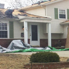 picture of a home getting some insurance restoration work done by brightside restoration in medina ohio