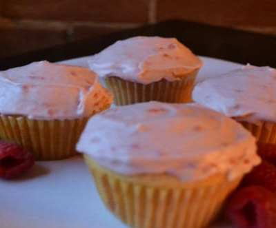 White Chocolate Cupcakes w/ Marscarpone Raspberry Buttercream Icing