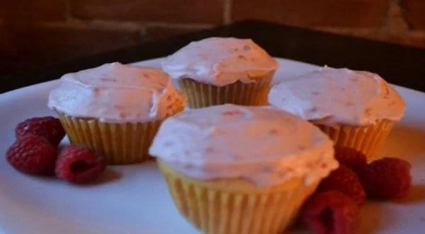 White Chocolate Cupcakes w/ Marscarpone Raspberry Buttercream Icing