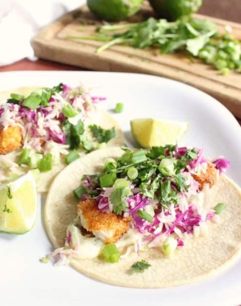 Crispy Fish Tacos with Cilantro Sauce
