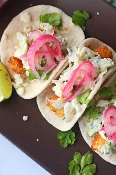 Crispy Fish Tacos with Cilantro Slaw