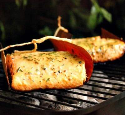 Grilled Cedar Wrapped Salmon