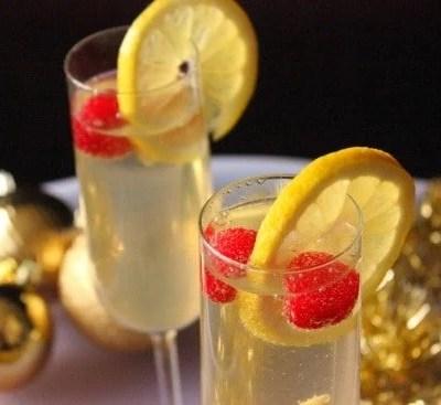 Lemon Raspberry Champagne Cocktail