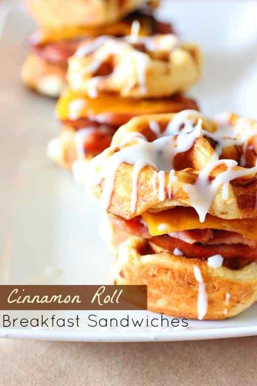 Cinnamon Roll Breakfast Sandwiches