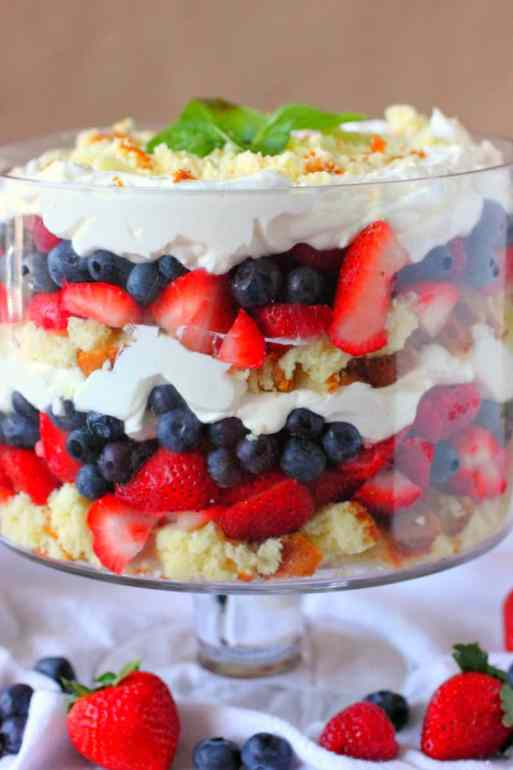 Mixed Berry Trifle with Cream Cheese Whipped Cream