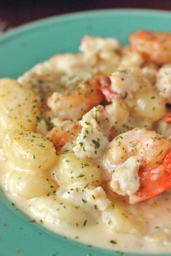 Seafood Gnocchi with White Wine Cream Sauce