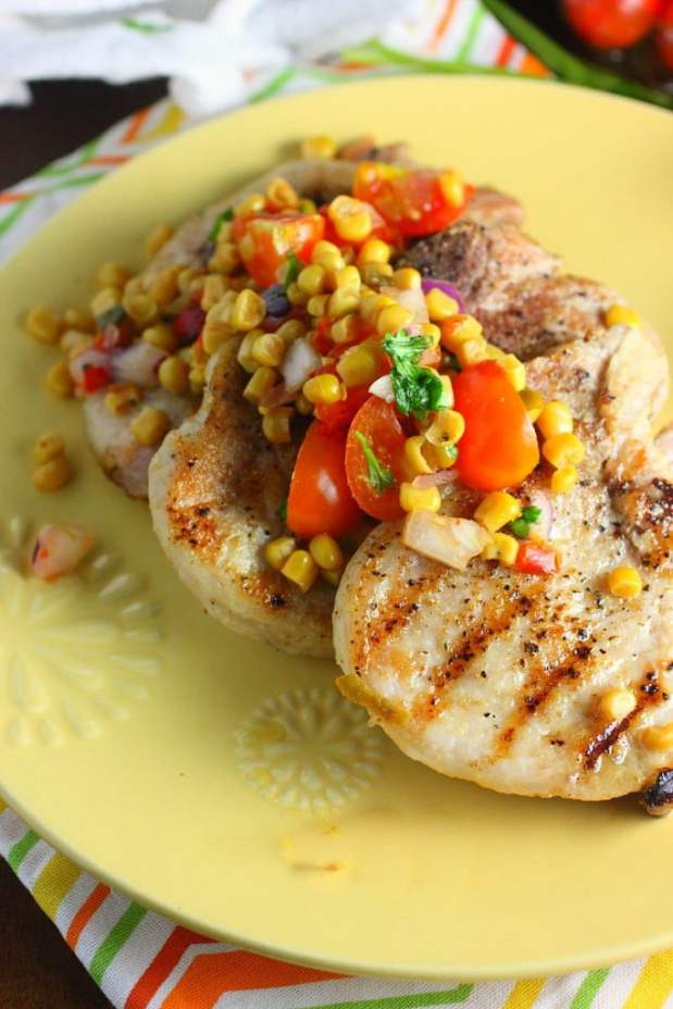 Grilled Pork Chops with Corn Tomato Salsa