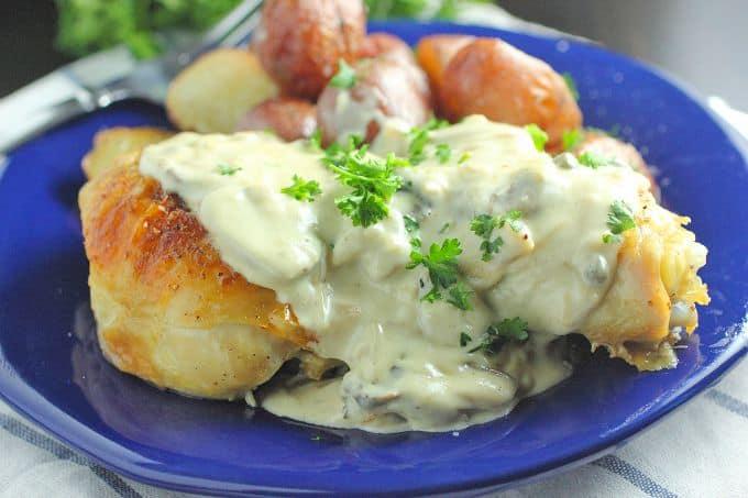 Pan Roasted Chicken with Mushroom Cream Sauce