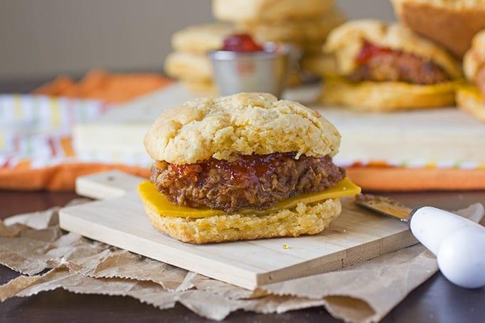 Spicy Chicken Biscuit Breakfast Sandwiches