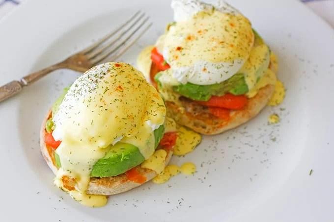 Smoked Salmon and Avocado Egg Benedict Recipe | Brown Sugar