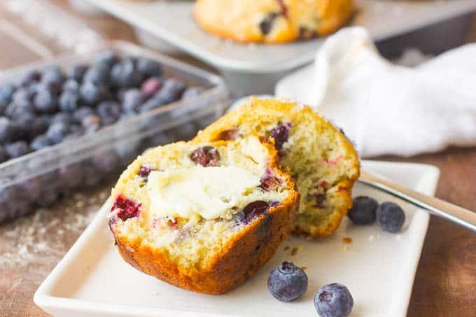 Jumbo Bakery Style Blueberry Muffins Recipe