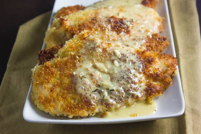 Crispy Chicken Cutlets with Lemon Rosemary Butter Sauce