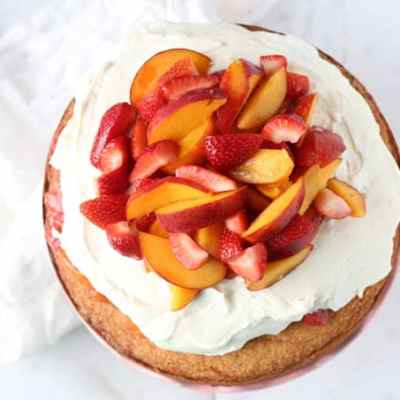 Peach and Strawberry Shortcake Cake
