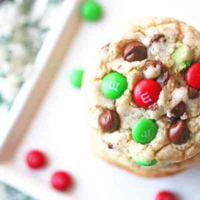 Soft and Chewy Christmas M&M Chocolate Chip Cookies