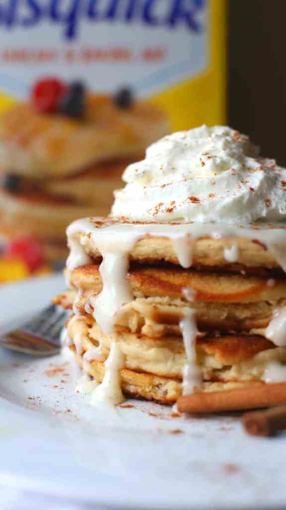 Maple and Cinnamon Roll Pancakes