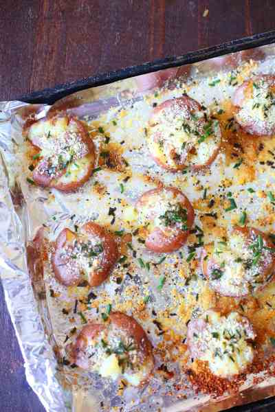 Parmesan and Rosemary Red Smashed Potatoes