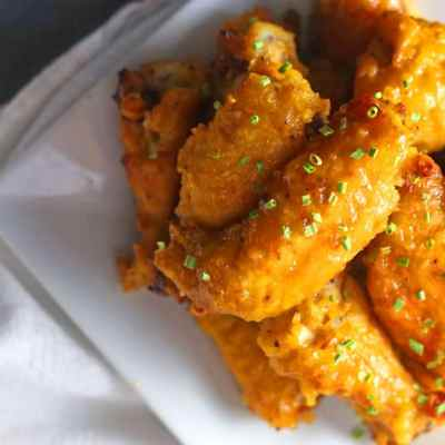 A plate of Mango Habanero Chicken Wings