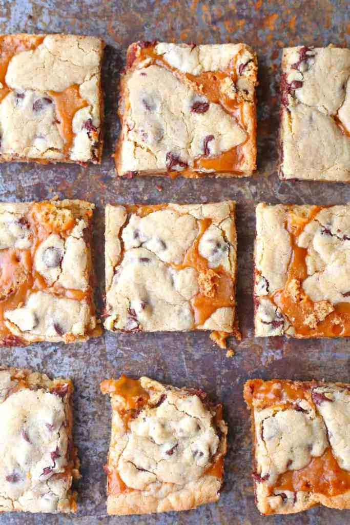 Browned Butter Caramel Chocolate Chip Bars on a baking sheet