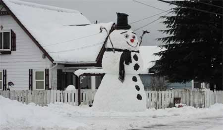 Giant Snowman In Darrington WA
