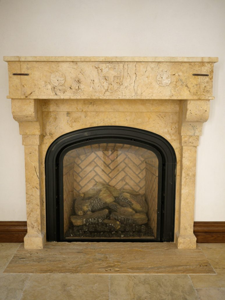 Custom Mission  Spanish Revival Stone Fireplace Mantels